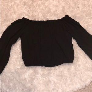 Black crop top, off the shoulder, peasant style